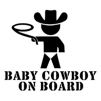 Baby Cowboy On Board Die Cut Vinyl Decal PV1915
