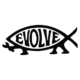 Evolve Jesus Fish Parody with Wrench Die Cut Vinyl Decal PV2137