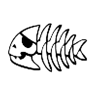 Fish Skeleton Die Cut Vinyl Decal PV970