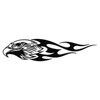 Flaming Eagle Die Cut Vinyl Decal PV1391
