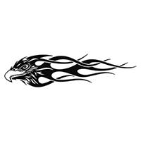 Flaming Eagle Die Cut Vinyl Decal PV1392