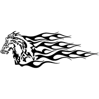 Flaming Mustang Die Cut Vinyl Decal PV1388
