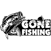 Gone Fishing Die Cut Vinyl Decal PV2418