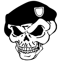 Green Beret Skull Die Cut Vinyl Decal PV255