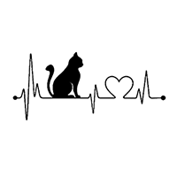 Heartbeat Cat Love Die Cut Vinyl Decal PV2371