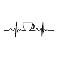 Heartbeat Coffee Die Cut Vinyl Decal PV2390