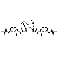 Heartbeat Dog Die Cut Vinyl Decal PV2374