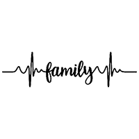 Heartbeat Family Die Cut Vinyl Decal PV2372