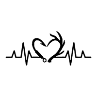 Heartbeat Hunting Fishing Die Cut Vinyl Decal PV2369