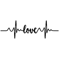 Heartbeat Love Die Cut Vinyl Decal PV2382