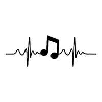 Heartbeat Music Die Cut Vinyl Decal PV2373