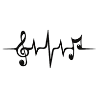 Heartbeat Music Die Cut Vinyl Decal PV2380