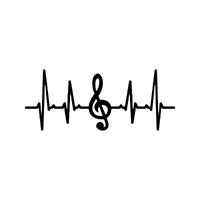 Heartbeat Music Die Cut Vinyl Decal PV2389