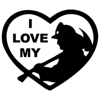 I Love My Firefighter Die Cut Vinyl Decal PV1977