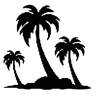 Island Palm Die Cut Vinyl Decal PV844