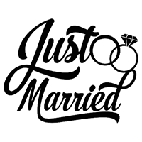 Just Married Die Cut Vinyl Decal PV2396