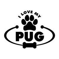 Love My Pug Die Cut Vinyl Decal PV2022