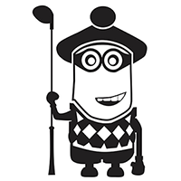 Minion Golfer Die Cut Vinyl Decal PV104