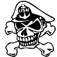Navy Skull Die Cut Vinyl Decal PV1104