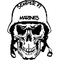 Semper Fi Marines Skull Die Cut Vinyl Decal PV117