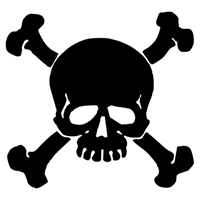 Skull Crossbones Die Cut Vinyl Decal PV237