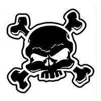 Skull Crossbones Die Cut Vinyl Decal PV245