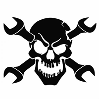 Skull Wrench Die Cut Vinyl Decal PV248