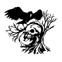 Skull and Crow Die Cut Vinyl Decal PV2238