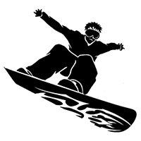 Snow Boarding Die Cut Vinyl Decal PV2240