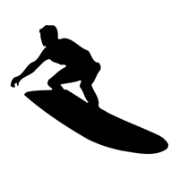 Surfing Die Cut Vinyl Decal PV1894
