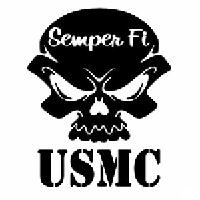USMC Skull Die Cut Vinyl Decal PV1126