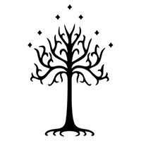 White Tree of Gondor Die Cut Vinyl Decal PV2059