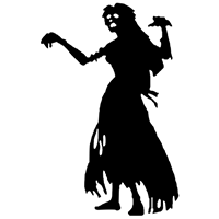 Zombie Female Die Cut Vinyl Decal PV1839