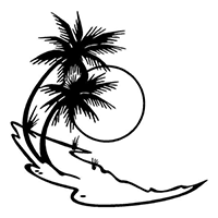 Beach Palm Trees Die Cut Vinyl Decal PV266